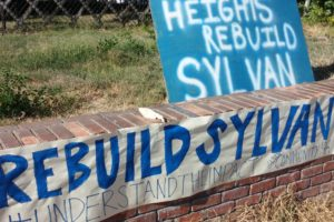 Sign in support of rebuilding Sylvan Middle School in Citrus Heights